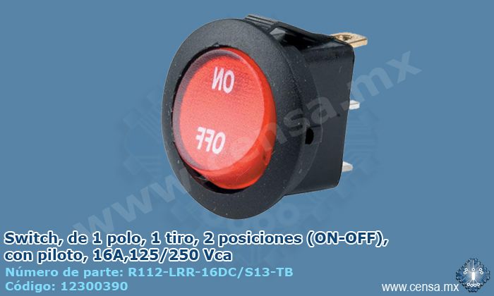 R112-LRR-16DC/S13-TB Interruptor switch, 1 polo, 1 tiro, 2 posiciones (On-Off), 16A