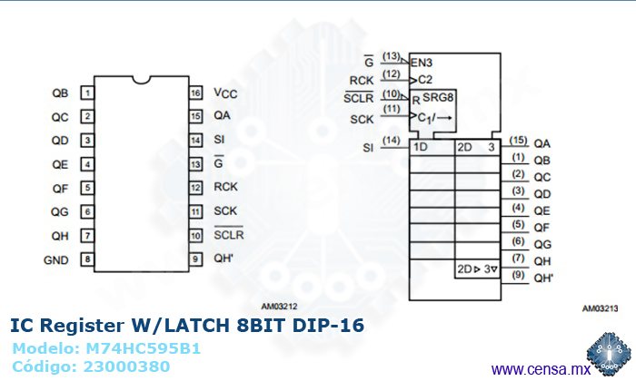 M74HC595B1 | Register W/LATCH 8BIT DIP-16