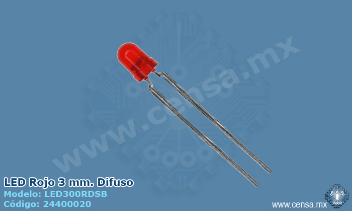 LED300RDSB LED Rojo Difuso de 3mm