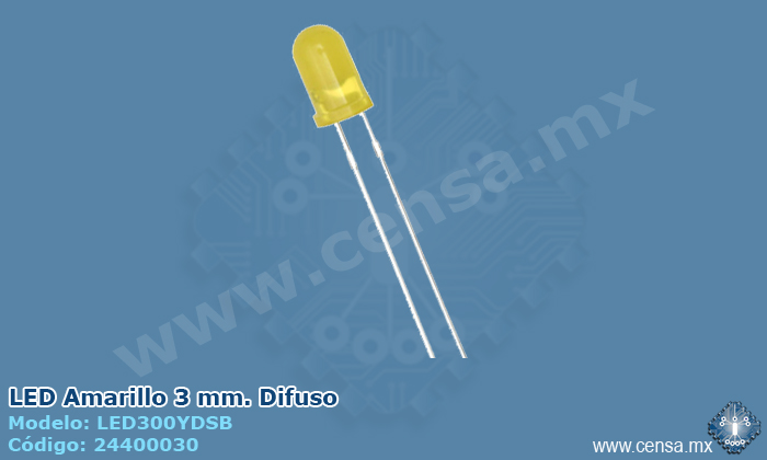 LED300YDSB Led Amarillo 3mm. Difuso