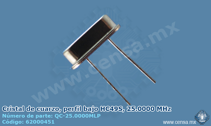 QC-25.0000M Resonador de cristal mini HC49S 25 MHz