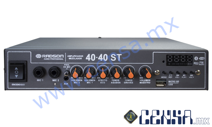 40·40 ST Amplificador 40 watts x 2 canales (80 watts totales)